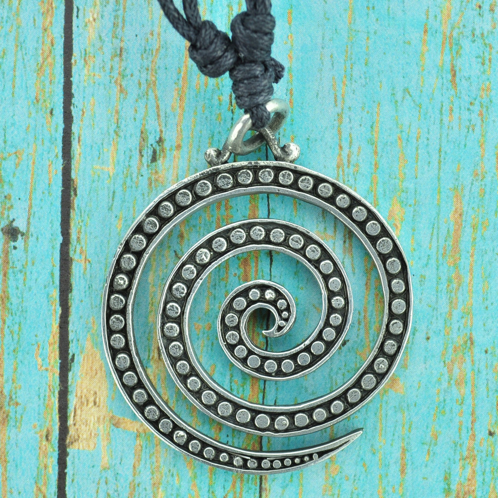 Spiral White Brass Necklace