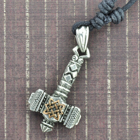 Thor's Hammer White Brass Necklace