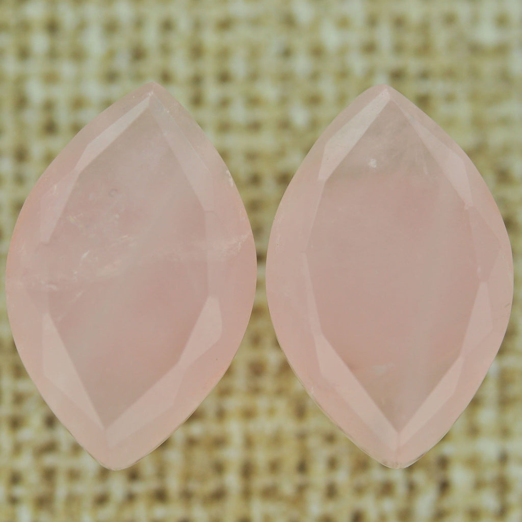 Rose Quartz Faceted Marquise Single Flare Plugs