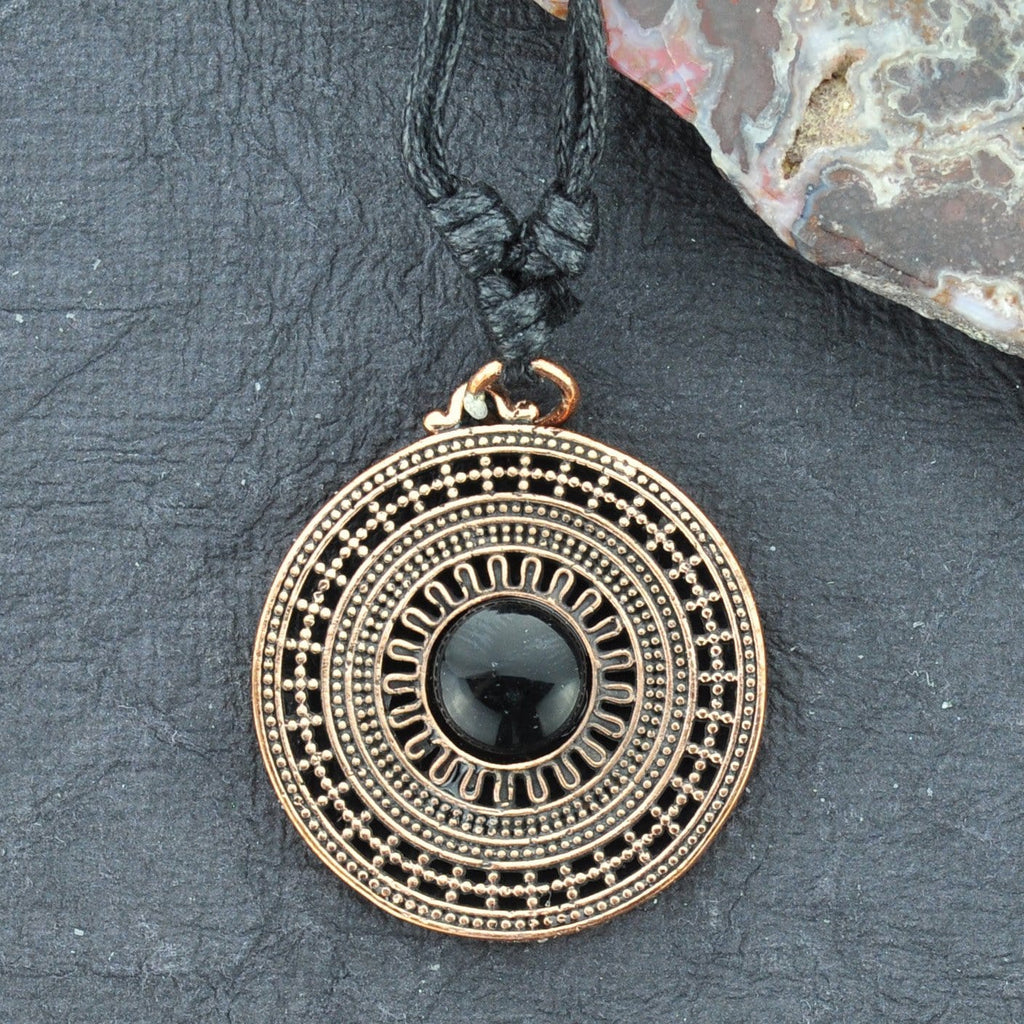 Mandala Bronze Necklace with Onyx Bead