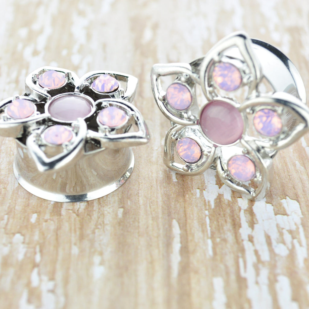 Stainless Steel Plugs with Pink Cat Eye on Balloon Flower *Discontinued*