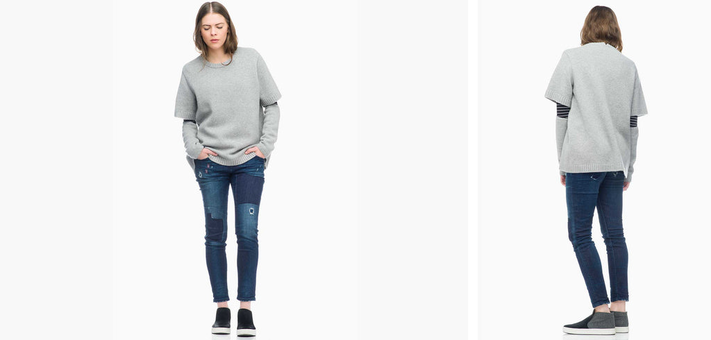 Sibel Saral Tee Sweater with Closed Patch Denim