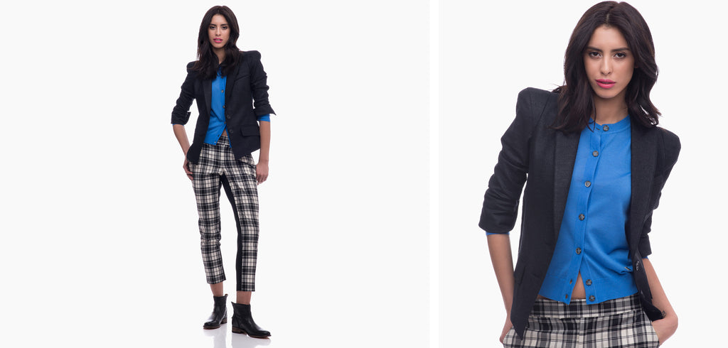 Smythe Blazer and Pant with Kenzo Cardigan