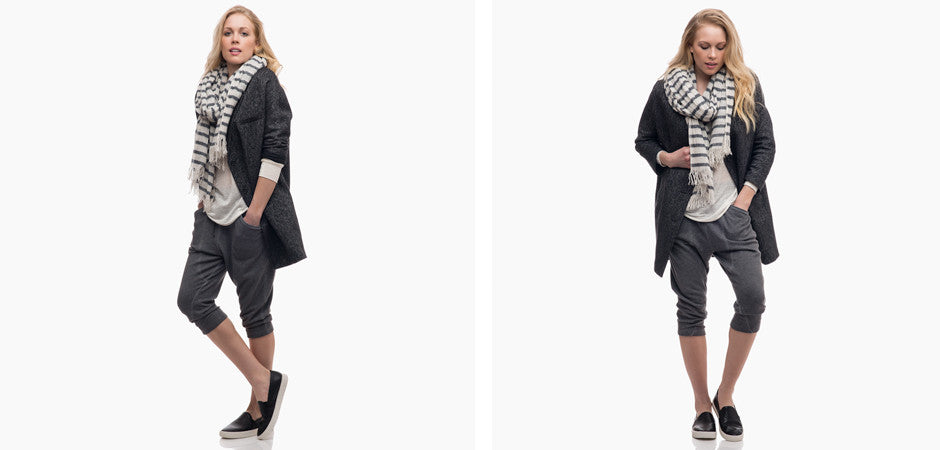 Nili Lotan Scarf and Swildens Coat with Helmut Lang Long Shorts