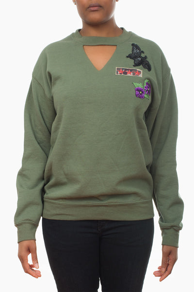 Patch Sweatshirt army butterfly