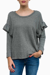 Current/Elliott The Ruffle Cotton Sweatshirt