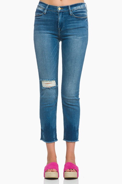 FRAME Le High Straight Raw Edge Jean