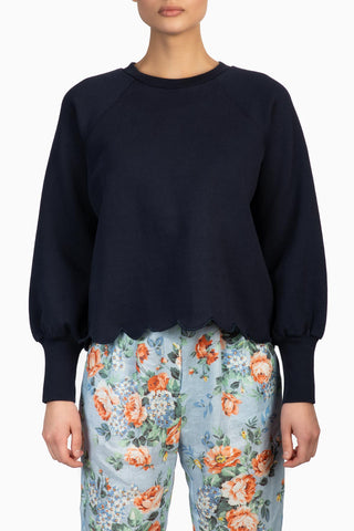 FRAME Scallop Crew Neck Navy
