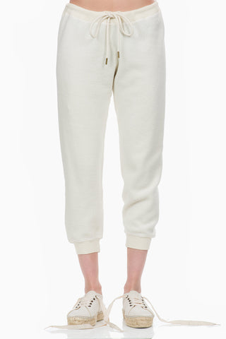 The Great The Sherpa Cropped Sweatpant  washed white