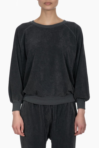 The Great The Micro Terry Bubble Sweatshirt blk