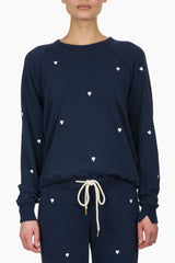 The Great The College Sweatshirt navy w/hearts