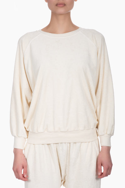 The Great The Micro Terry Bubble Sweatshirt white