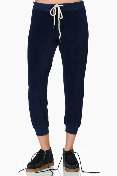 The Great The Velour Cropped Sweatpant Navy