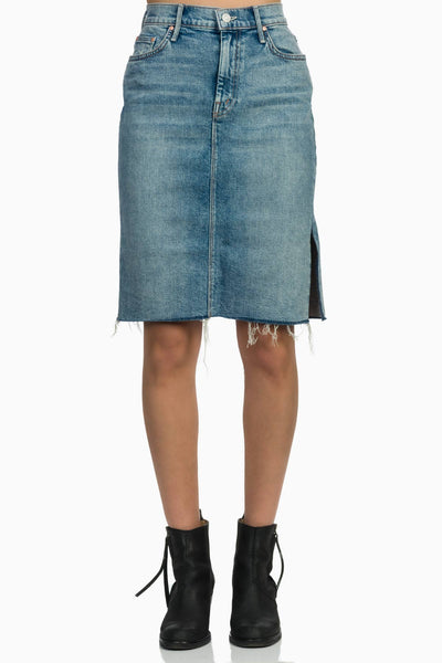 MOTHER The High Waisted Slice Knee Fray Skirt