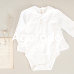White bodysuite with peter pan collar