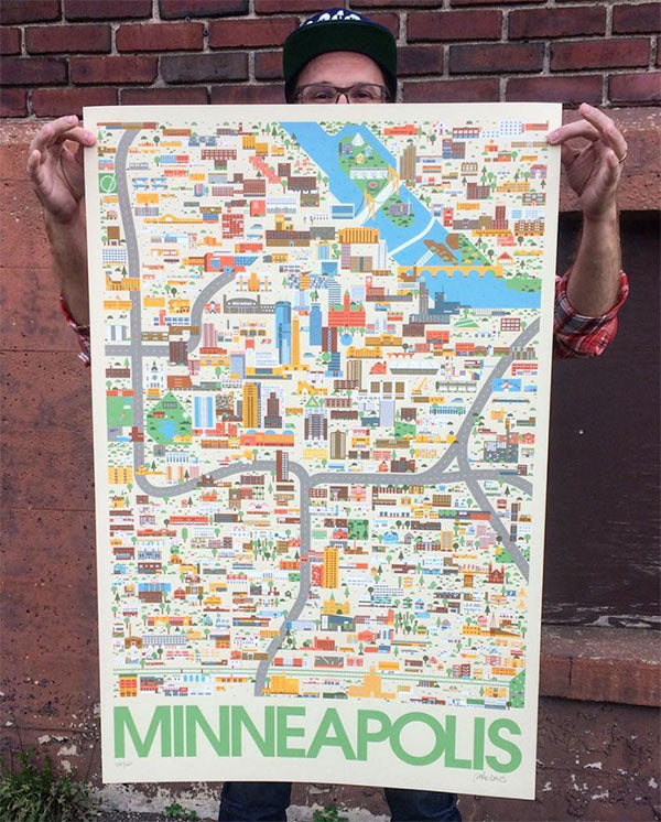 Mike Davis Finally Wrapped Up The Design Of His Epic Minneapolis Map Print Which Was Brought To Life As A Six Color Screenprint By Sarah