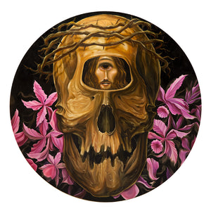 George R. Thompson IV: Still Life with Cyclops, Skull, Flowers, and Jesus