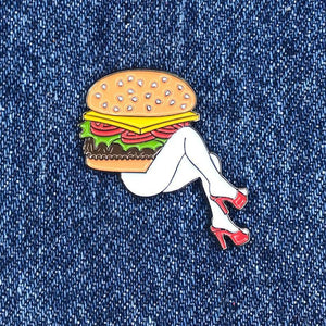 Burger Lady enamel pin