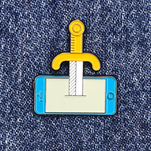 Sword In The Phone enamel pin