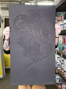 Aaron Horkey: Grails Black / Grey Test Print