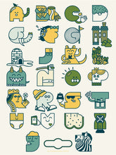 Alphabet Print - 7th edition - Blue & Green Colorway