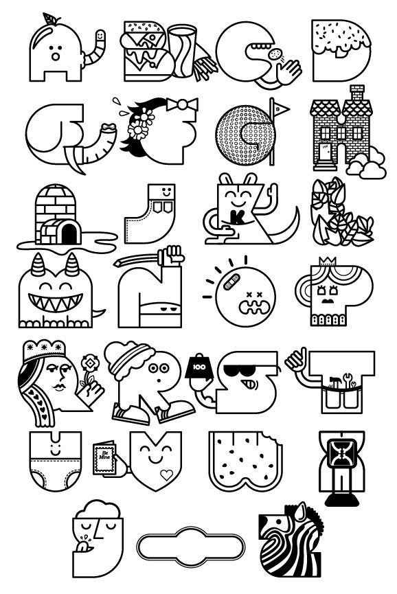 Color Your Own Alphabet Poster