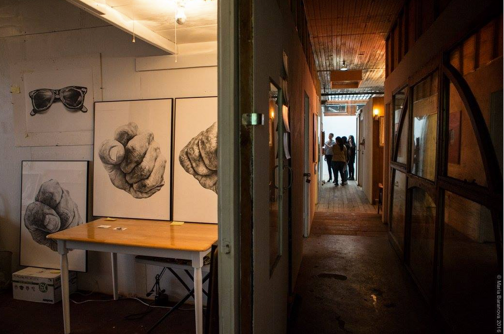 the invisible dog hallway and paintings