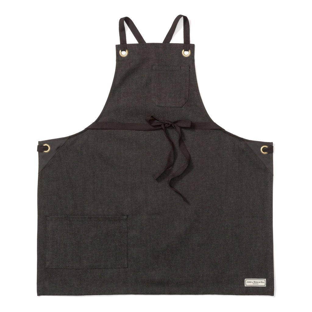 KYOTO BIB APRON, BLACK DENIM