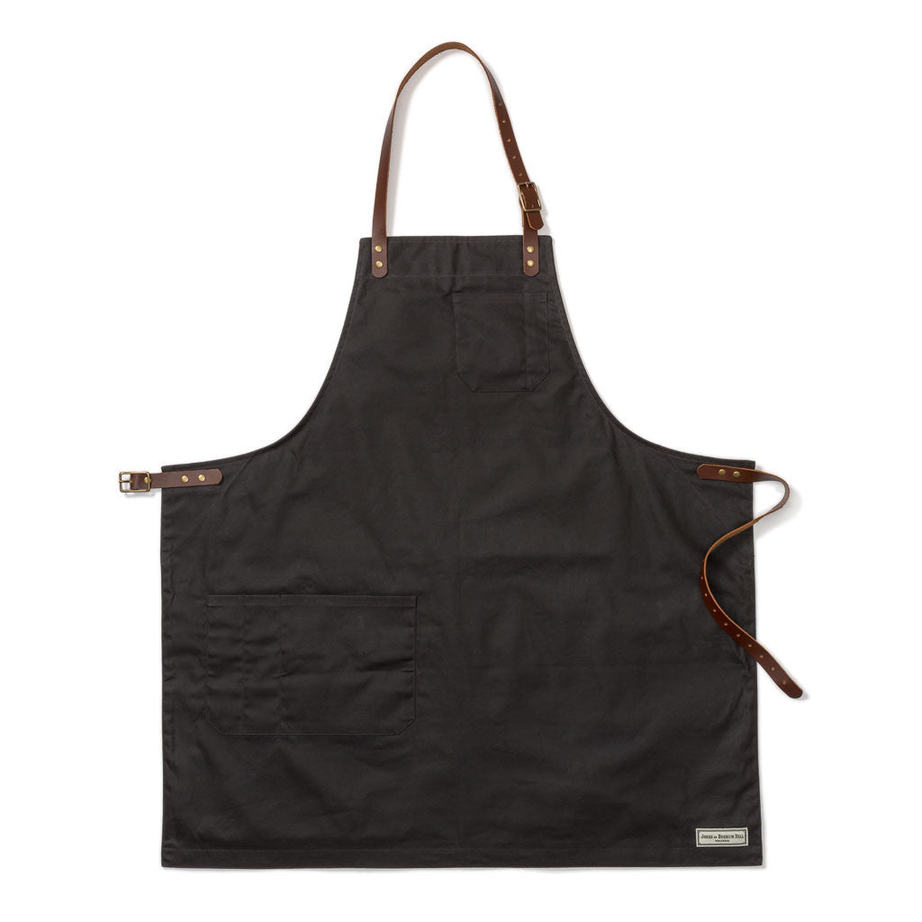 BOND ST. BIB APRON, BLACK WAXED CANVAS