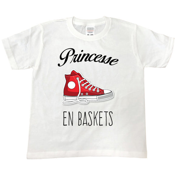 T Shirt enfant Princesse en baskets blanc