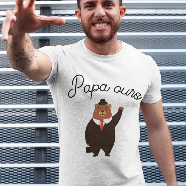 T Shirt Homme Papa ours blanc