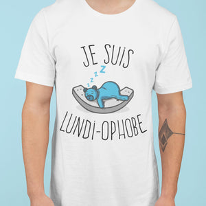 T Shirt Homme Je suis lundi ophobe blanc