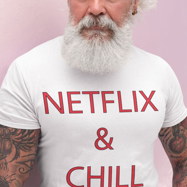 T Shirt Homme Netflix and chill blanc