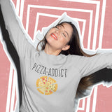 Sweat Femme Pizza Addict gris