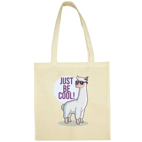 Tote Bag Lama just be cool écru