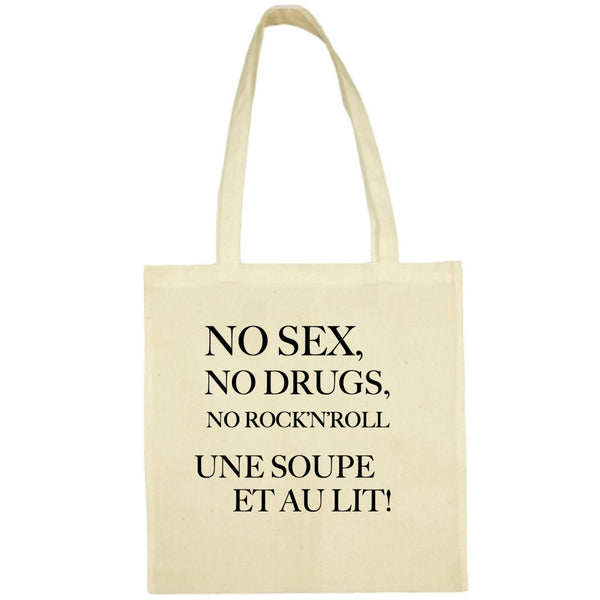 Tote Bag No sex no drugs écru