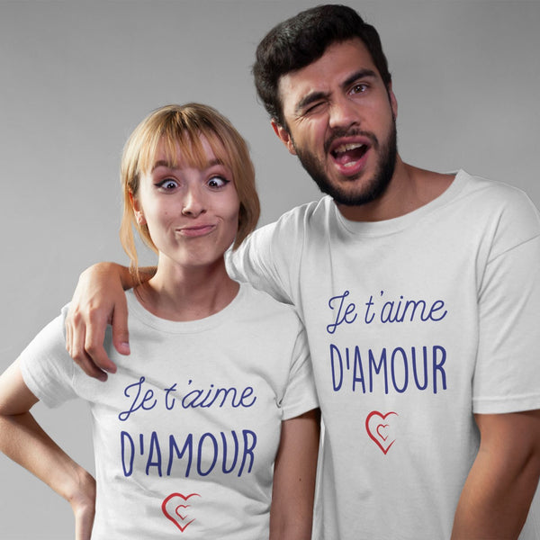 Duo T-shirt couple Saint Valentin Je t'aime d'amour