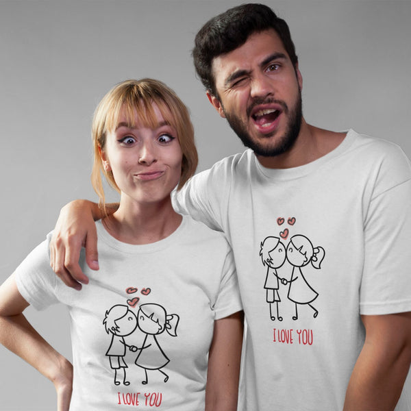 Duo T-shirt couple Saint Valentin I love you