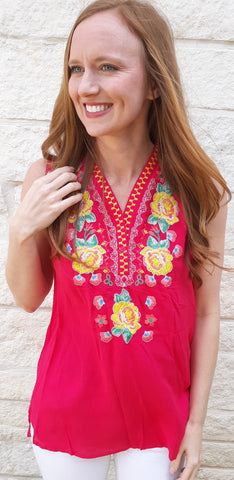 Fuschia Embroidery Top