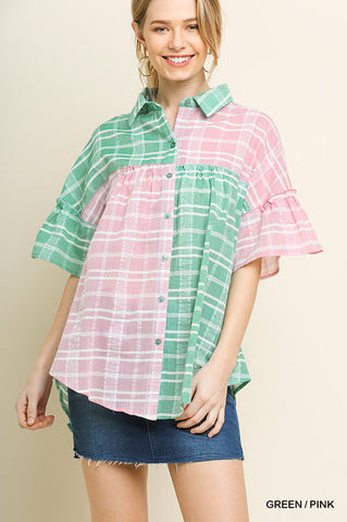 Green & Pink Plaid Top