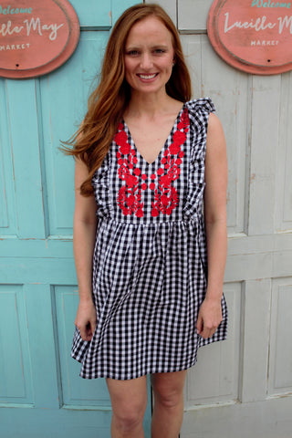 Gingham & Ruffles Dress in Black
