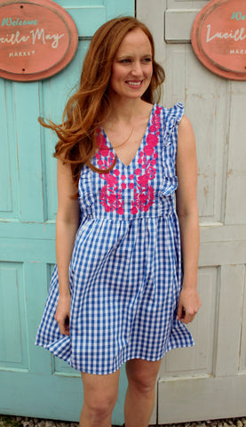 Gingham & Ruffles Dress in Royal Blue