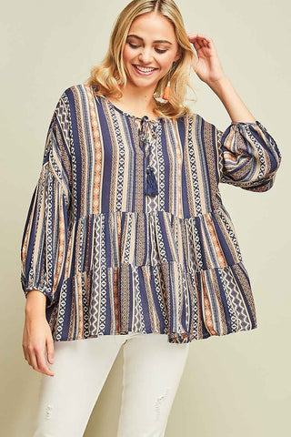 Navy Multi Pattern Top