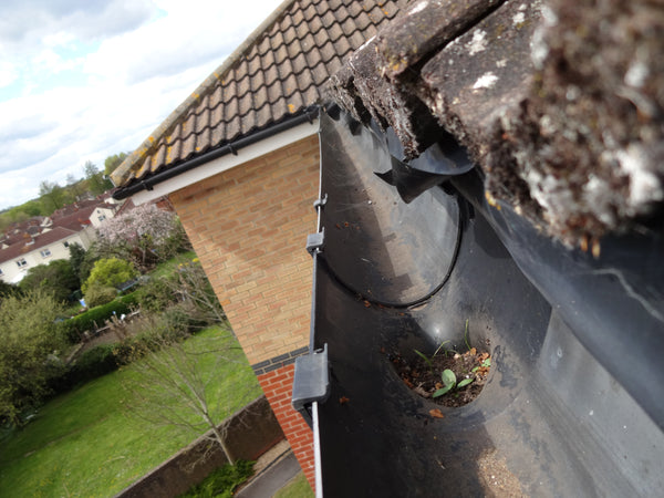 HD images of blocked downpipe - before cleaning