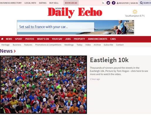 IImage used by Southampton Daily Echo, by Vantage Point Products Elevated 35ft Telescopic Carbon Fibre Photography Mast Eastleigh Hendy Ford 10K Road Race