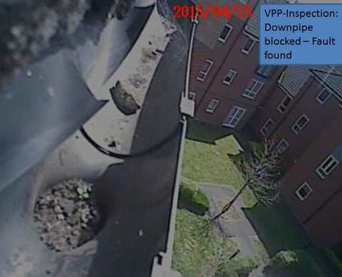 Image of blocked down pipe from telescopic survey