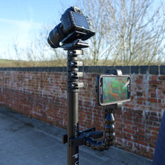 Vantage Point Products, DSLR tilt head, smartphone holder iPhone 6 Plus size, remote control elevated photography and video mast