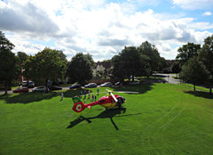 Image of Air Ambulance from 35ft carbon fibre photography mast