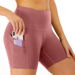 Women's High Waist Workout Shorts with Phone Pocket image 1