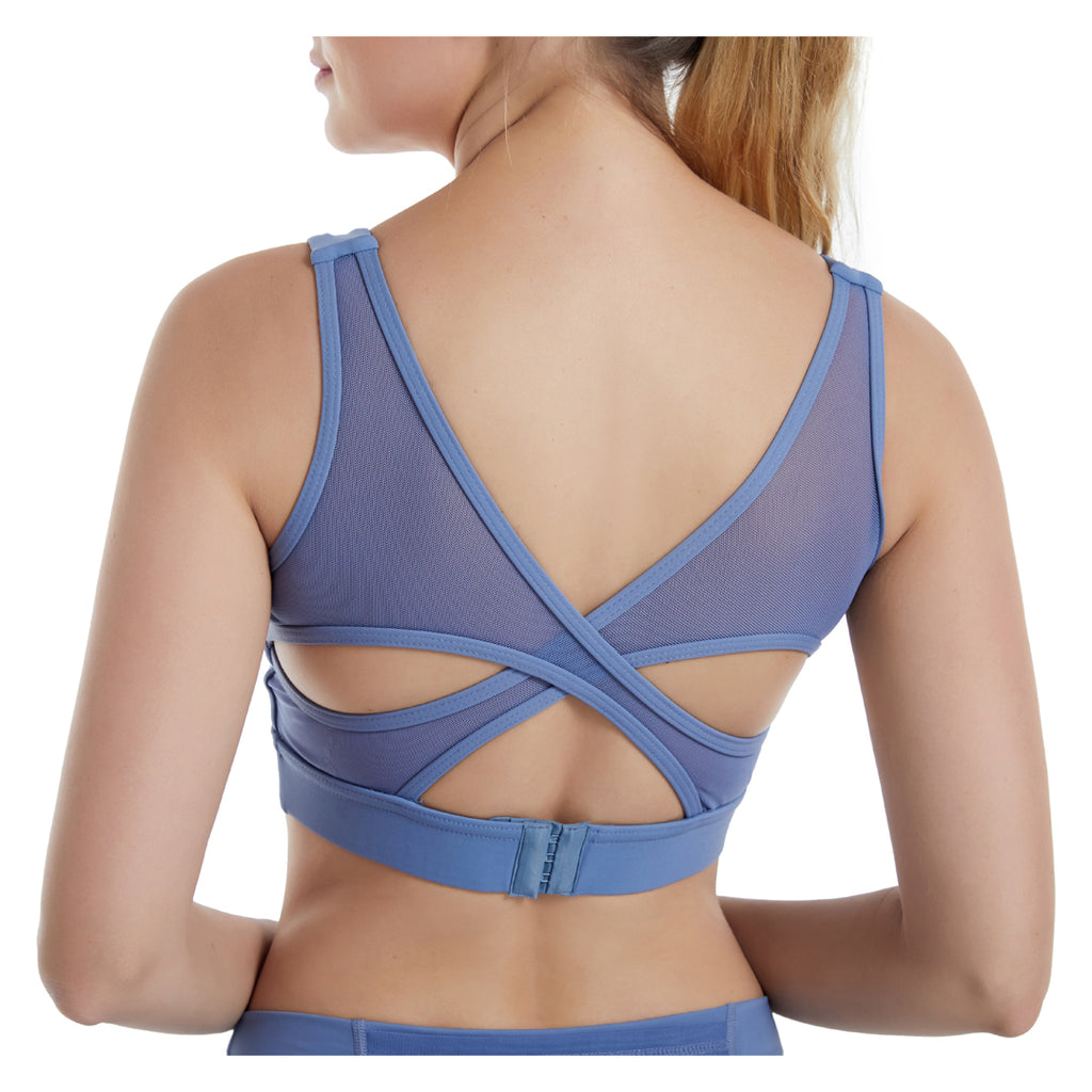Women Cross Mesh Back Yoga Bra image 1